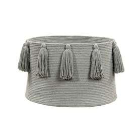 """Aufbewahrungskorb """"Basket Tassels"""", in hellgrau, aus Baumwolle, 30 x 45 cm, von Lorena Canals"""