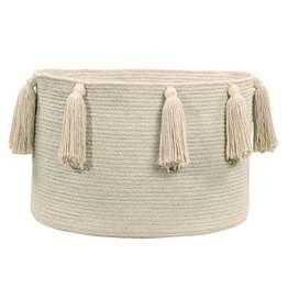 """Aufbewahrungskorb """"Basket Tassels"""", in natural, aus Baumwolle, 30 x 45 cm, von Lorena Canals"""