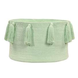 """Aufbewahrungskorb """"Basket Tassels"""", in soft mint, aus Baumwolle, 30 x 45 cm, von Lorena Canals"""