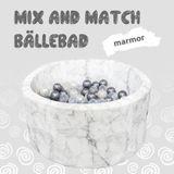 Mix & Match Bällebad, rund 90 x 40 cm, Marmor Velours, inkl. 200 Bälle, freie Farbwahl
