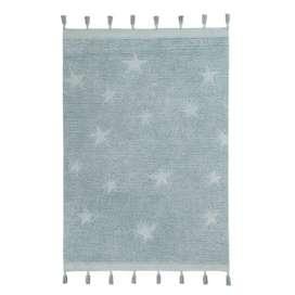 Kinderteppich mit Sternen,  Hippy Stars , 120 x 175 cm, waschbar, in aqua blau, von Lorena Canals