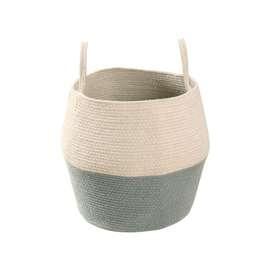 """Aufbewahrungskorb """"Basket Zoco , in blau und natur, aus Baumwolle, 30 x 30 cm, von Lorena Canals"""