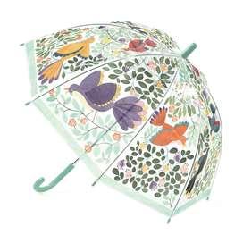Zauberhafter Kinder Regenschirm, transparent mit Druck  Flowers and Birds , von Djeco
