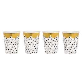 Pappbecher  Confetti  schwarz-weiss-gold, 8 Stück, von Jabadabado