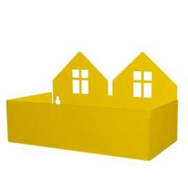 Aufbewahrung im Kinderzimmer,  Twin House Box , in gelb, aus Metall, von roommate