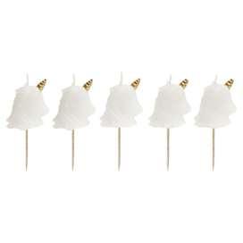 5 niedliche Einhornkerzen für den Geburtstagskuchen, in Weiß, von Sunnylife
