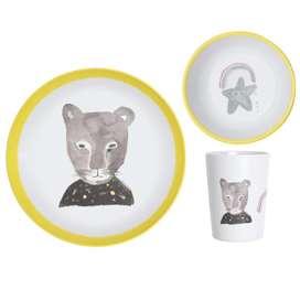 3-teiliges Pax & Hart Geschirrset  Panther , aus Melamin, von Lapin and me