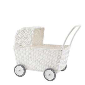 Traumhafter 2in1 Rattan Puppenwagen  Strolley , Korbwagen und Trolley, in weiß, von Olli Ela