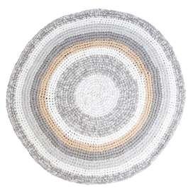Runder Häkelteppich Kinderteppich in federbeige melange, 100% Baumwolle, 120 cm Durchmesser, von sebra