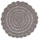 """Hochwertiger Teppich """"Alma"""", handgehäkelt, in grau, 120 cm Durchmesser, aus Baumwolle, von Nattiot"""