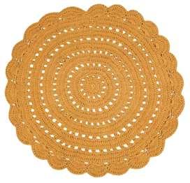 """Hochwertiger Teppich """"Alma"""", handgehäkelt, mangofarben, 120 cm Durchmesser, aus Baumwolle, von Nattiot"""
