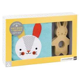 Niedliches Geschenkset, Kontrastreiches Stoffbuch mit Greifling Hase aus Holz, von Petit Collage