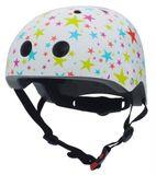 Hübscher Kinder Helm mit Glitzersternen, weiss-bunt, Gr. S und M, von Coconuts