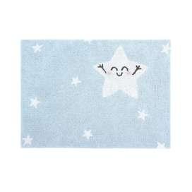 Kinderteppich  Happy Star , in hellblau, 100% Baumwolle, 120 x 160 cm, waschbar, Mr. Wonderful for Lorena Canals