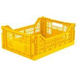 Kultige Klappiste Midi, Gelb, stapelbar, recycelbarer Kunststoff, 40 x 30 x 14,5 cm, von Ay-Kasa