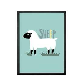 Wunderschönes, gerahmtes Poster, Schaf, 35 x 45 x 2 cm, von Bloomingville