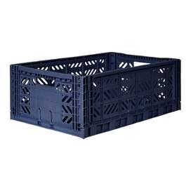 Kultige Klappiste Maxi, Navy, stapelbar, recycelbarer Kunststoff, 60 x 40 x 22 cm, von Ay-Kasa