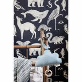 Kindertapete,  Tiere  by Katie Scott Wallpaper, dunkelblau, von Ferm Living