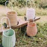 Rattan Trolley  Luggy , in mint, 20 x 30 x 55 cm, von Olli Ella