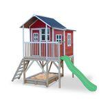 Gartenspielhaus Holzspielhaus auf Stelzen mit Anbau  EXIT Loft 550 , mit Rutsche und Sandkasten, in rot,  von Exit Toys