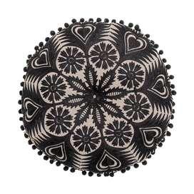 Tolles Dekokissen im Ethnolook, schwarz, 40 cm Durchmesser, aus Baumwolle, von Bloomingville
