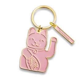 Toller Schlüsselanhänger  Lucky Cat , in Pink, aus Messing, von Donkey