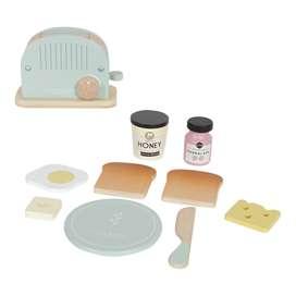 Kinderküchen Zubehör, Toaster aus Holz mit Zubehör, 10-teilig, von Little Dutch