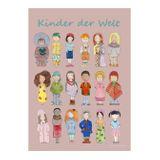 Kinderposter  Kinder der Welt , rosa/Erdton, A3, designed by Mohlinette