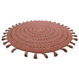 """Hochwertiger Teppich """"Nila , handgehäkelt, in korkfarben, 120 cm Durchmesser, aus Baumwolle, von Nattiot"""