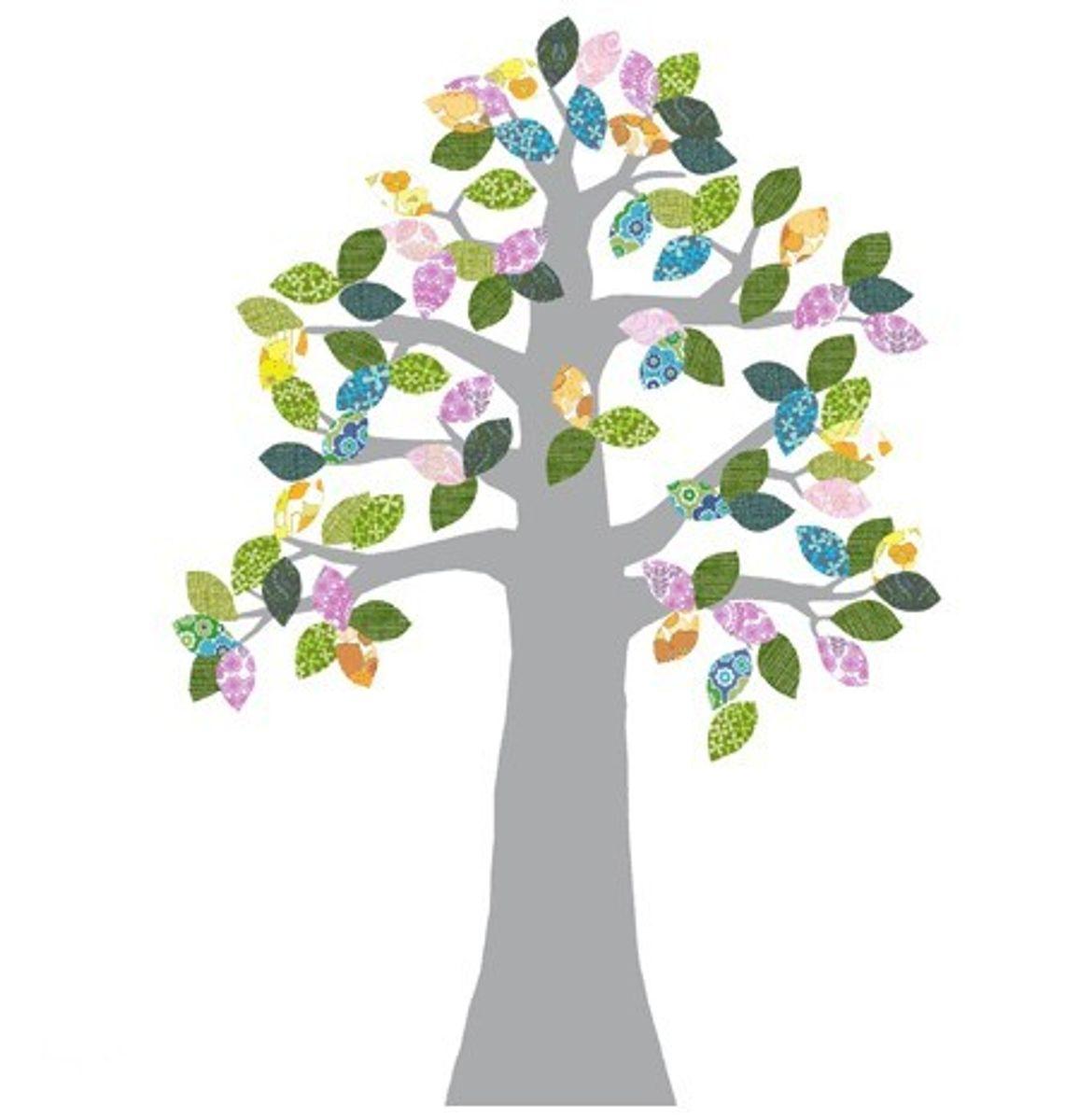 Tapetenbäume Für Einen Hauch Natur Im Kinderzimmer! Tapetenbaum #2  Silber/bunt