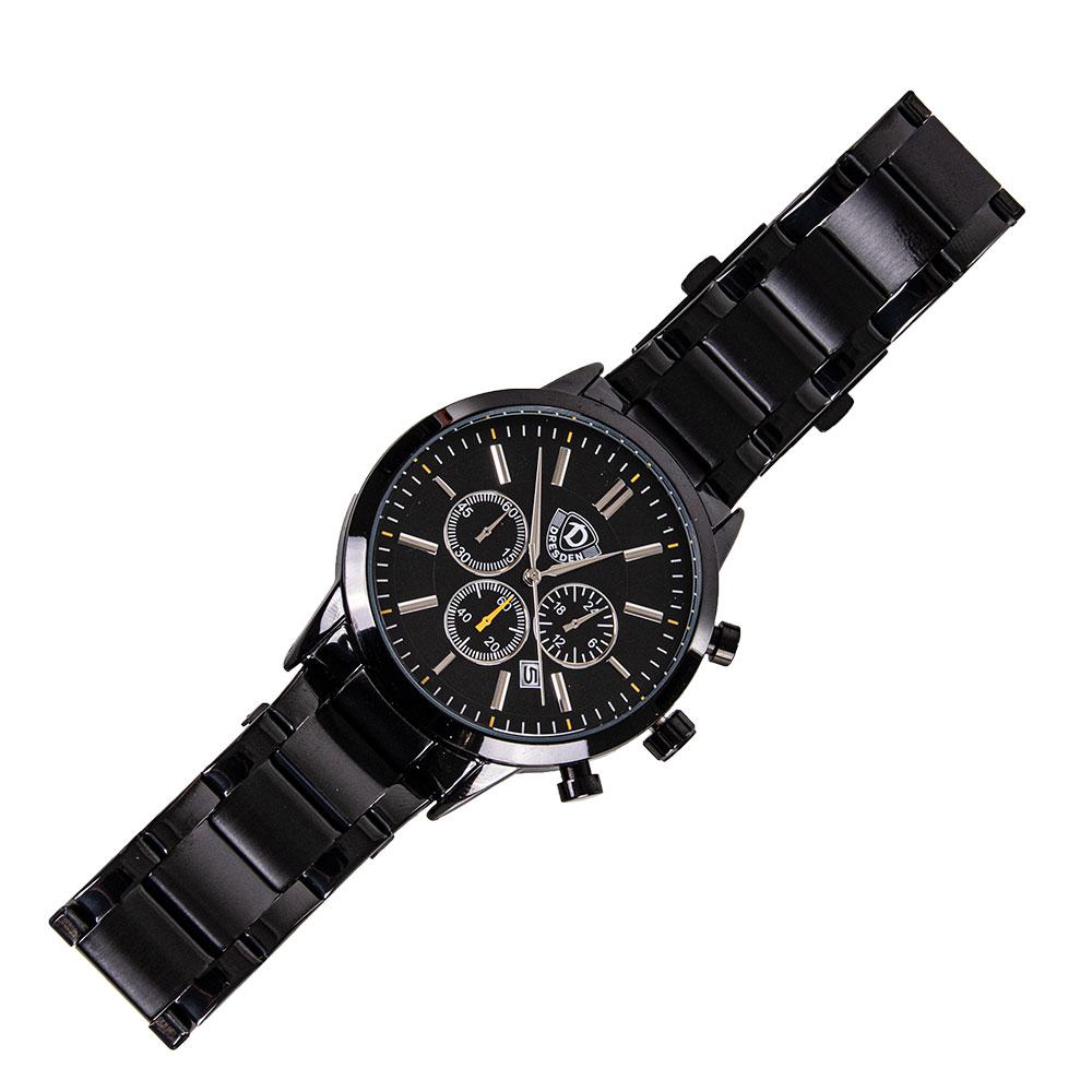 Armbanduhr Chronograph LOGO Edelstahl schwarz