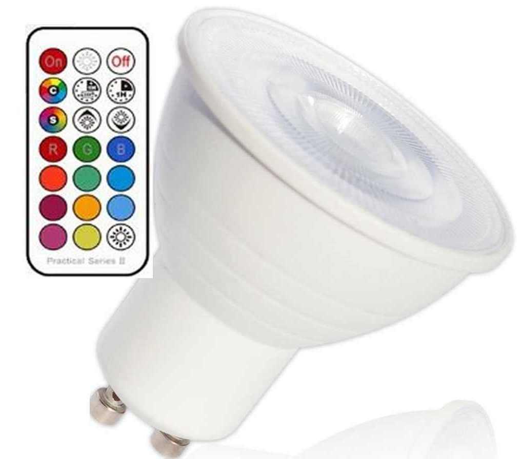 2xLed RGB+warmweiß GU10 mit Timer, Memoryfunktion und Fernbedienung 230 Volt