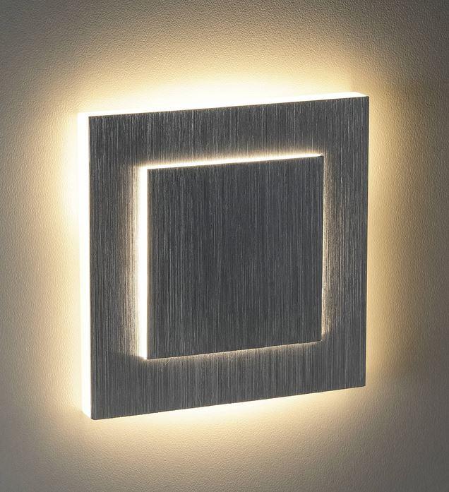 Led Treppenstufenbeleuchtung eckig alu geb. Duo warmweiß Einbau 230 V Wandlampe