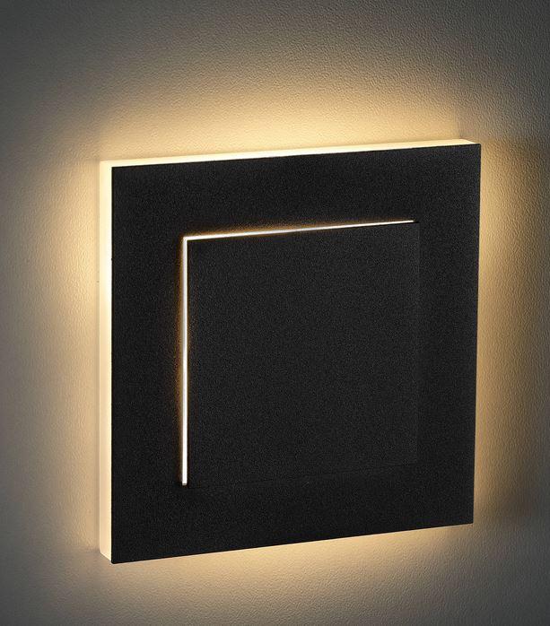 Led Treppenstufenbeleuchtung eckig anthrazit Duo warmweiß Einbau 230 V Wandlampe