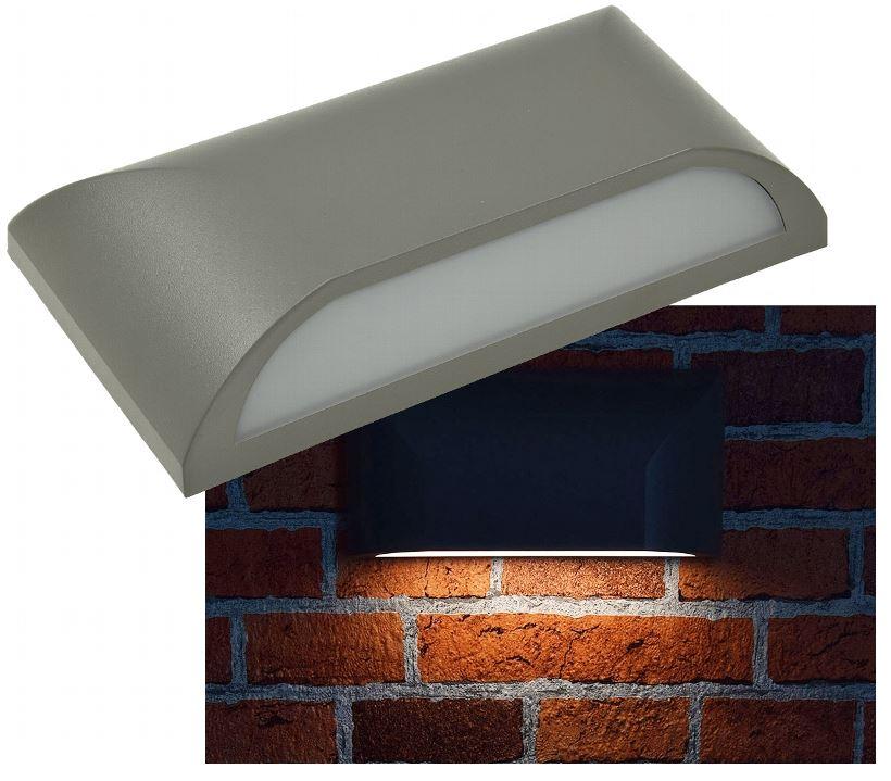 Led Wandlampe eckig grau flach 6Watt 300Lumen warmw IP65 für indirektes Licht