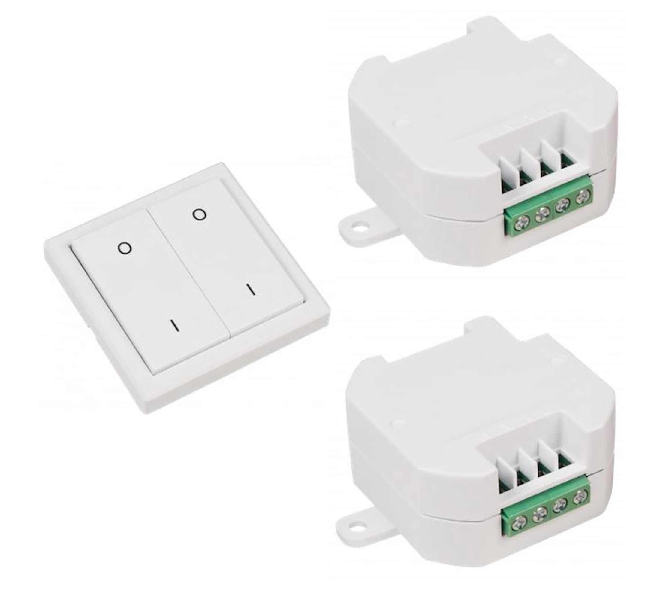Funk Schalter Set kabellos Empfänger und Wandtaster max 2000Watt IP20 433,92 MHz
