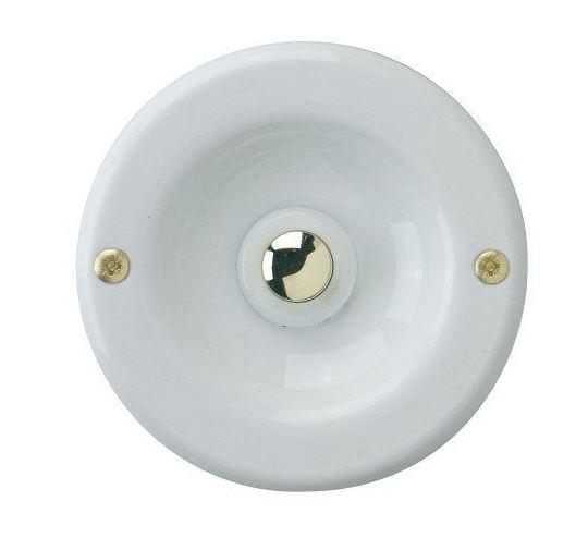 Klingeltaster Drücker Kontaktschale UP Bronzeguß weiß rund 70mm