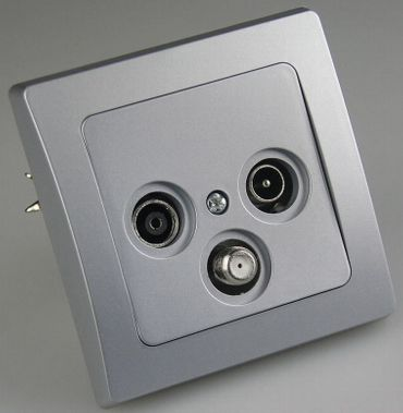 Antennendose Sat/TV silber mit silbernem Rahmen