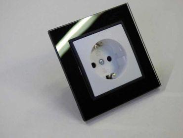 Steckdose mit Glas Rahmen schwarz Abelka N – Bild 1