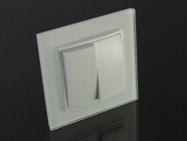 Glas Schalter Serienschalter 2-fach L weiß – Bild 1