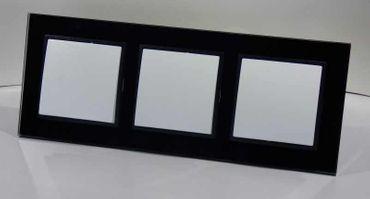3xWechselschalter im Glas Rahmen schwarz Abelka N