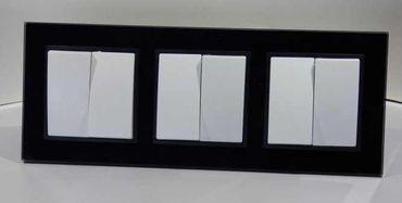 3xSerienschalter im Glas Rahmen schwarz Abelka N