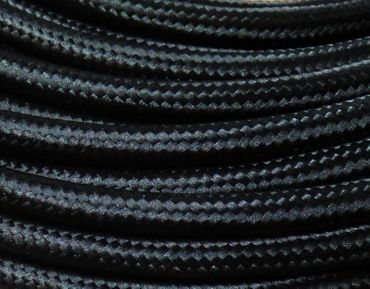 Textilkabel Stoffkabel 5m schwarz 3x0,75qmm