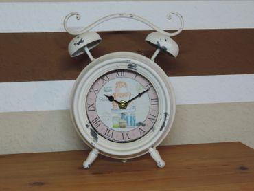 Retro Tisch Uhr Wecker beige/weiß analog - Antik U – Bild 1