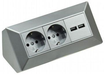 Küchen Steckdosenleiste 2-fach silber+USB Aufbau Unterbau Werkstatt – Bild 1