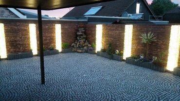 Led Gabionen Led Leuchte Steinzaun 45cm 360° warmweiß Garten  – Bild 1