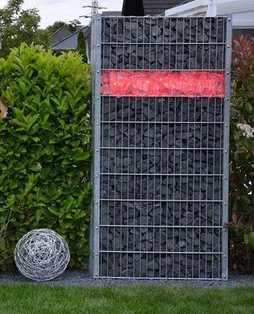 Led Gabionen Led Leuchte Steinzaun 45cm 360° rot Garten  – Bild 1