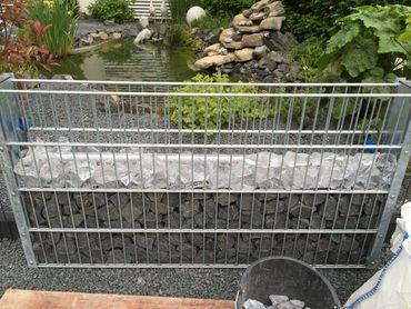 Led Gabionen Led Leuchte Steinzaun 50cm 360° warmweiß Garten  – Bild 4