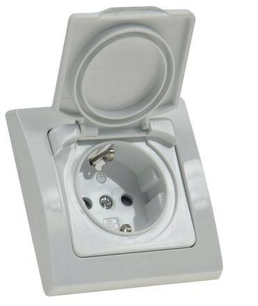 Steckdose mit Klappdeckel D IP44 weiß spritzwassergeschützt – Bild 1