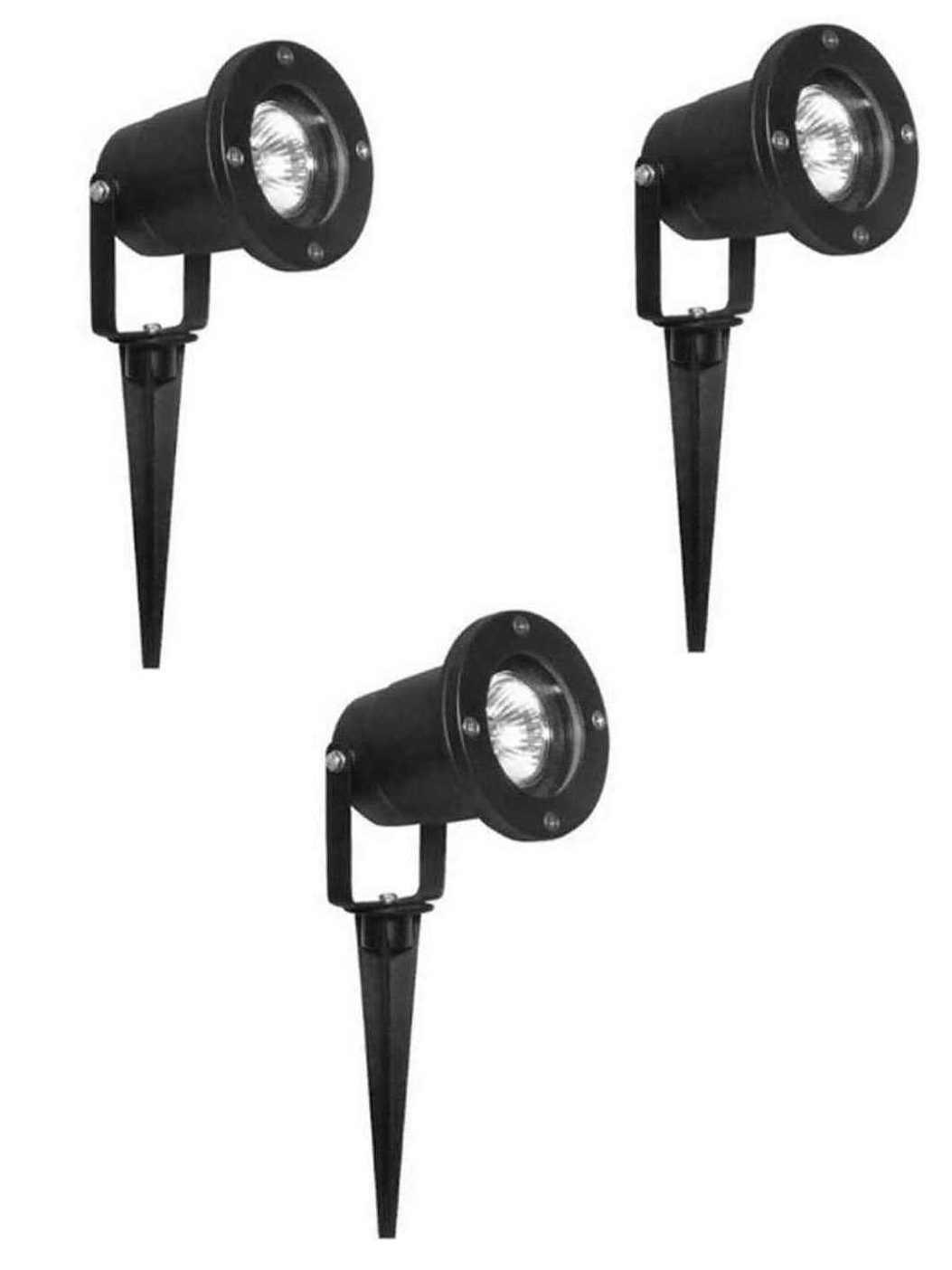 3xgartenstrahler spot rund schwarz schwenkbar ip44 mit. Black Bedroom Furniture Sets. Home Design Ideas